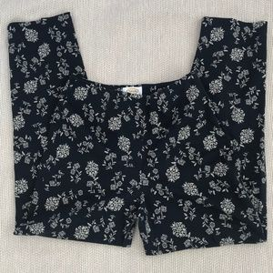 Talbots Black/Cream Floral Pattern Pants.NWT
